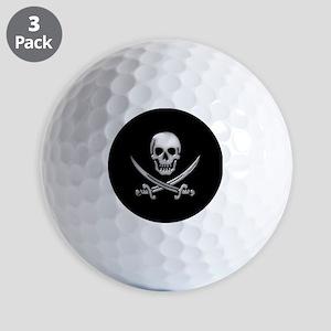 Glassy Skull and Cross Swords Golf Ball