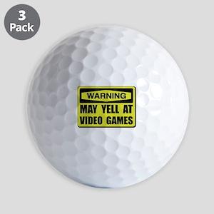 Warning Yell At Video Games Golf Ball