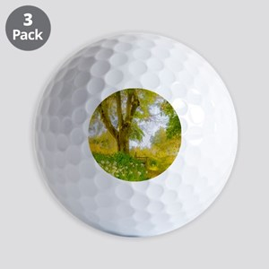 Golden Scene with Tree and Bench Golf Balls