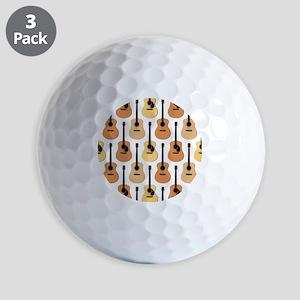 Acoustic Guitars Pattern Golf Balls