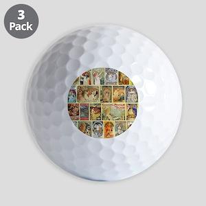 Art Nouveau Advertisements Collage Golf Balls