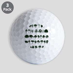Tree Silhouettes Green 1 Golf Balls