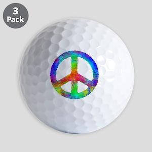 Distressed Rainbow Peace Sign Golf Balls