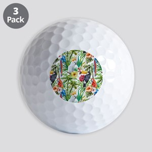 Tropical Flowers and Macaw Golf Balls