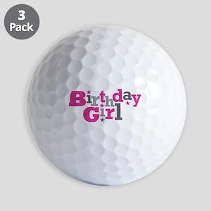 Pink Birthday Girl Star Golf Balls