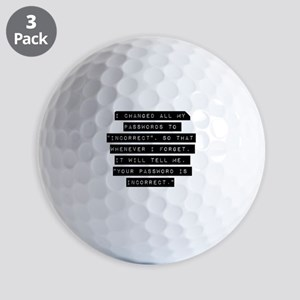 I Changed All My Passwords Golf Ball