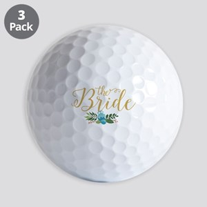 The Bride-Modern Text Design Gold Glitt Golf Balls