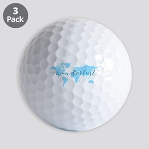 Wanderlust, blue world map Golf Balls