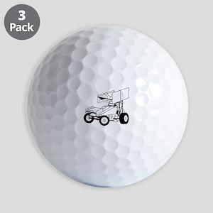 Sprint Car Outline Golf Ball