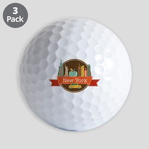 New York Big Apple Badge Golf Ball