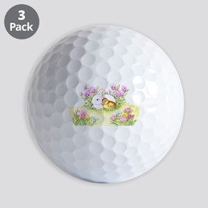 Easter Bunny, Duckling and Flowers Golf Ball