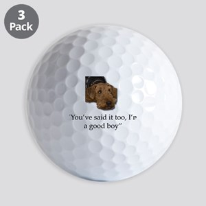 Sulking Airedale Terrier Giving Cute Ey Golf Balls