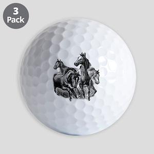 4 Horse Illustration Golf Balls