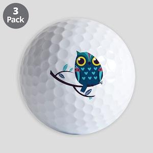Dark Teal Owl Golf Ball