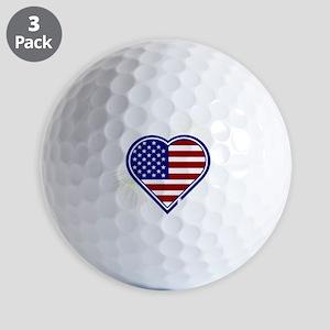 Alabama Heart Flag Fireworks Red T-shir Golf Balls