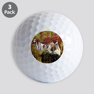 Brittany spaniels in the field Golf Balls