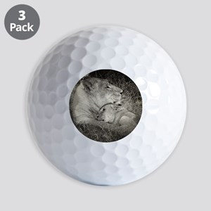 Tsalala Lioness and cub BW Golf Balls
