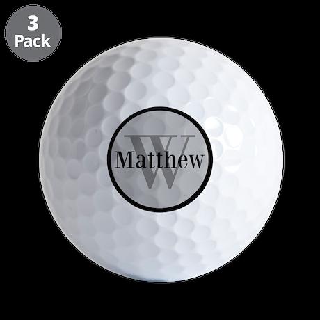 Gray Name and Initial Monogram Golf Ball