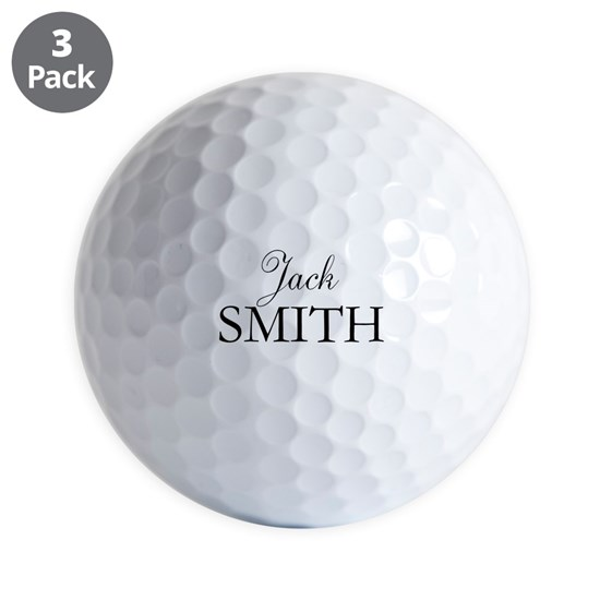 Personalized name golf ball - black