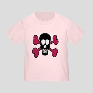 Pink Skull and Crossbones Toddler T-Shirt
