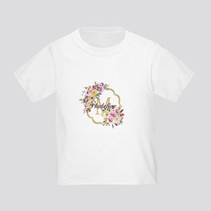 Watercolor Floral Gold Monogram T-Shirt
