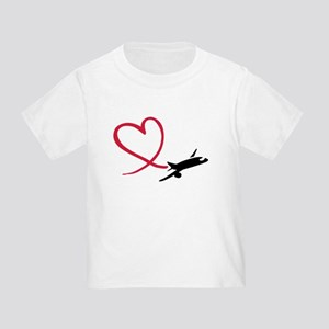 Airplane red heart Toddler T-Shirt