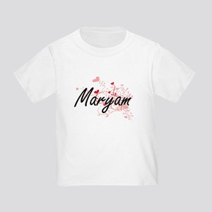 Maryam Artistic Name Design with Hearts T-Shirt
