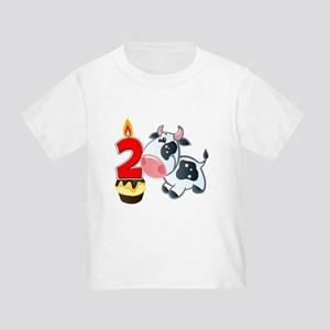 2nd Birthday Party Cow Toddler T-Shirt