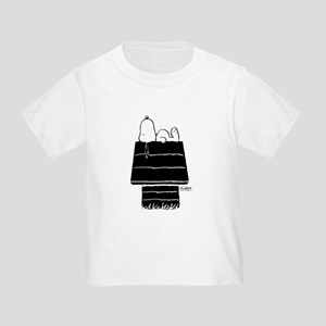 Snoopy on House Black and White Toddler T-Shirt