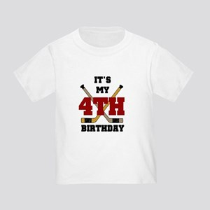 Hockey 4th Birthday Toddler T-Shirt