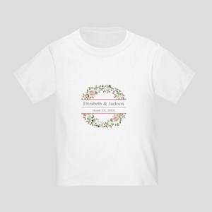 Floral Wreath Wedding Monogram T-Shirt