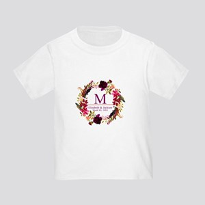 Boho Wreath Wedding Monogram T-Shirt