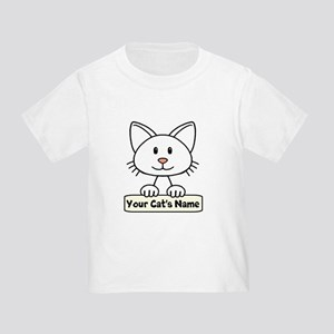 Personalized White Cat Toddler T-Shirt