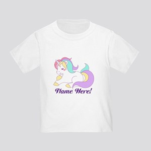 Personalized Custom Name Unicorn Girls T-Shirt