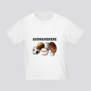 Sports Balls, Custom Name Toddler T-Shirt