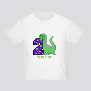 2nd Birthday Dinosaur Custom Toddler T-Shirt