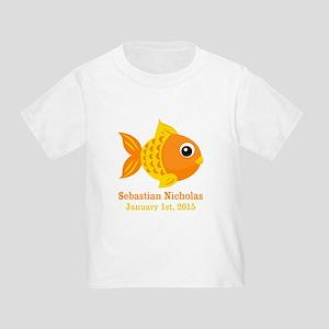 32f23789 Goldfish CUSTOM Baby Name Birthdate T-Shirt