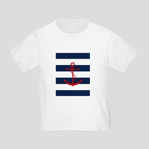 Red Anchor on Blue Stripes T-Shirt