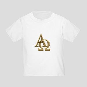 """""""3-D"""" Golden Alpha and Omega Symbol Toddler T-Shir"""