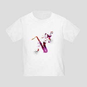 Stylish colorful music saxophone backgroun T-Shirt