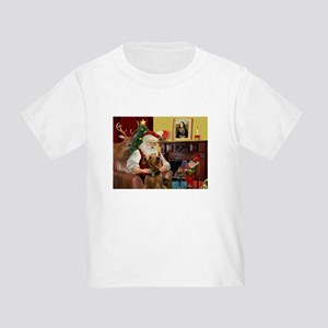 Santa and his Airedale Toddler T-Shirt