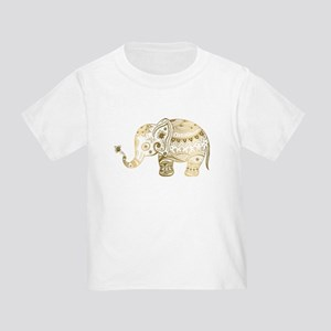 Gold tones cute tribal elephant illustrati T-Shirt