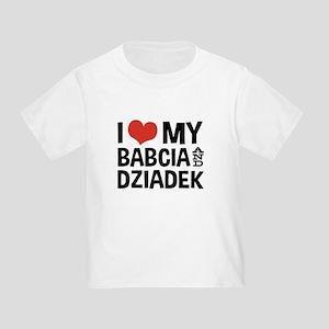 I Love My Babcia and Dziadek Toddler T-Shirt