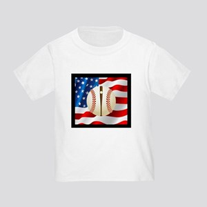 Baseball Ball On American Flag T-Shirt