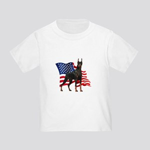 American Flag Doberman Toddler T-Shirt