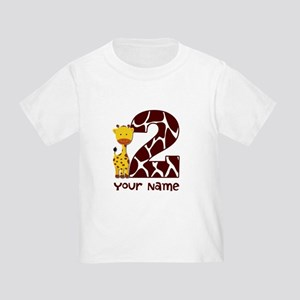 2nd Birthday Giraffe Toddler T-Shirt