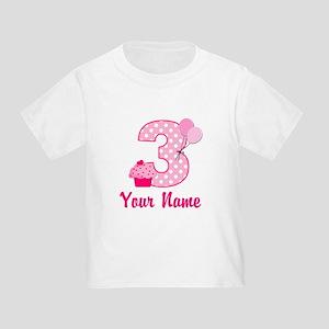 3rd Birthday Pink Cupcake Toddler T-Shirt