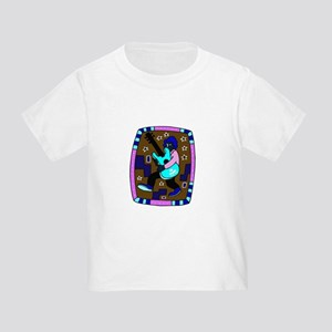 male carrying 5 string bass blue graphic T-Shirt