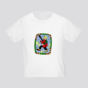 Male carrying 5 string bass graphic T-Shirt