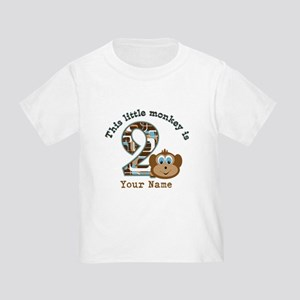 2nd Birthday Monkey Personalized Toddler T-Shirt